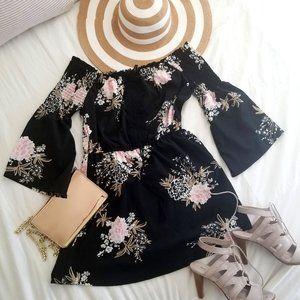 Floral Boho Off Shoulder Bell Sleeve Flared Dress